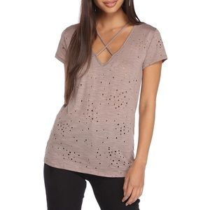 NWT TAN STRAPPED AND DISTRESSED TEE